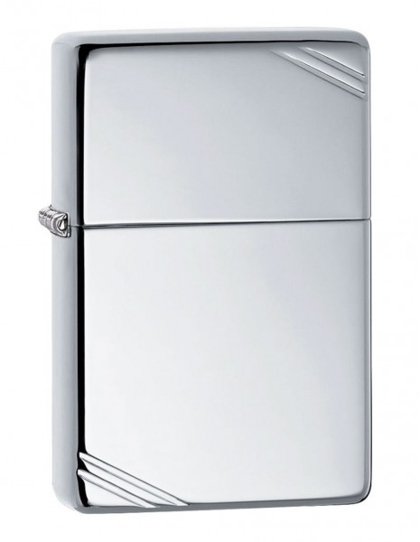 Original Zippo Lighter Vintage High Polish Chrome with Slashes 260