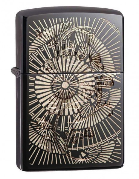 Original Zippo Lighter Black Ice Asian Floral 29421