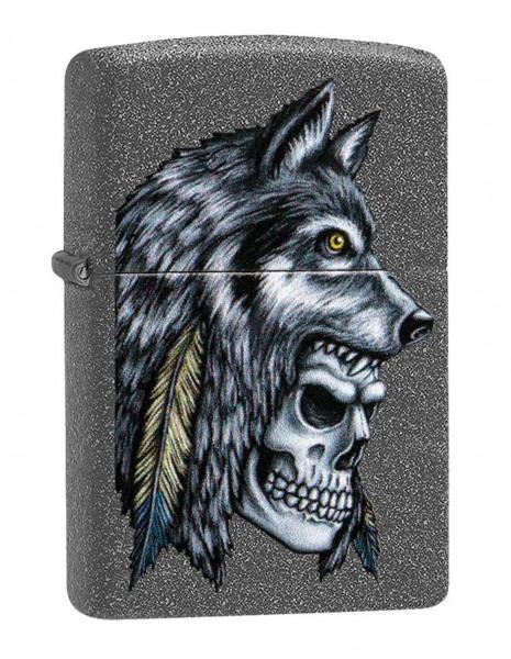 Zippo Upaljač Wolf Skull Feather Iron Stone 29863
