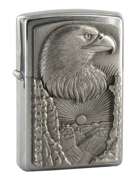 Zippo Lighter Royal Eagle Brushed Chrome
