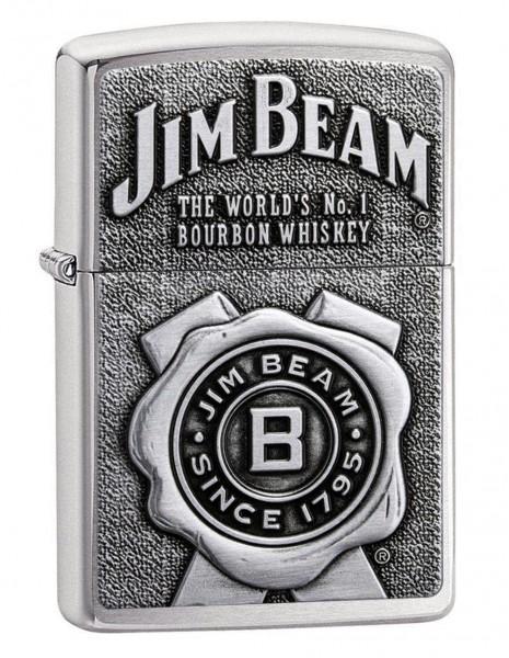Original Zippo Lighter Jim Beam Emblem 03 Brushed Chrome 29829