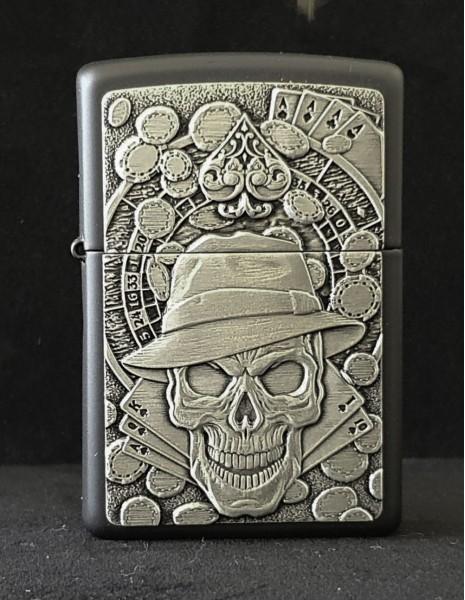 Zippo Lighter Gambling Skull Emblem Black Matte 49183