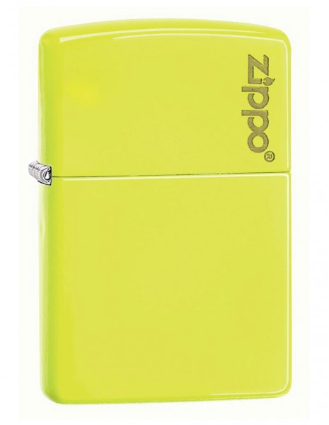 Original Zippo Lighter Neon Yellow Zippo Logo 28887ZL