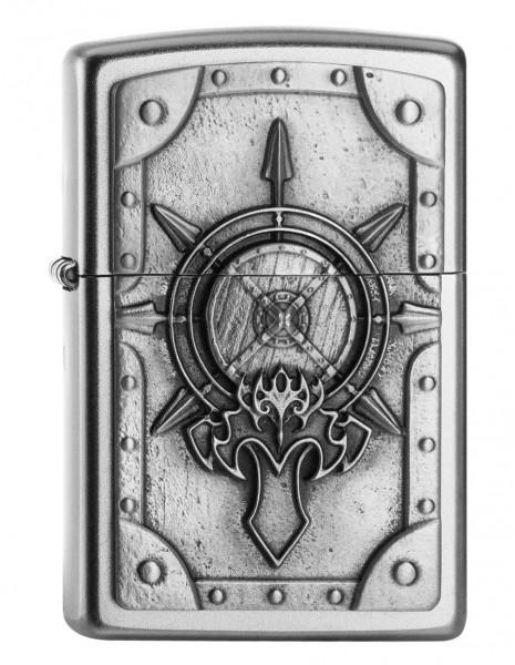 Zippo Lighter Battle Shield Satin Chrome EU Edition 2005041