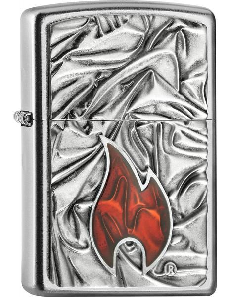 Zippo Lighter Soft Zippo Flame Satin Chrome EU Edition 2005095