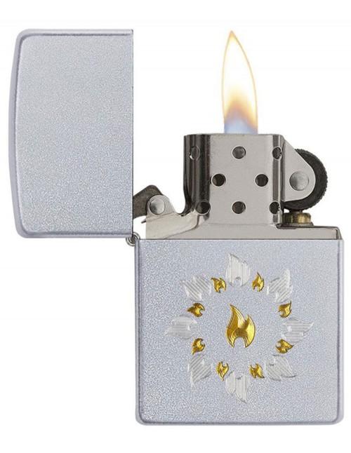 Original Zippo Upaljač Satin Chrome Ring Of Fire 21192