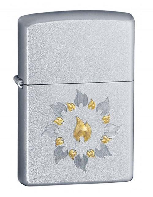 Original Zippo Lighter Satin Chrome Ring Of Fire 21192