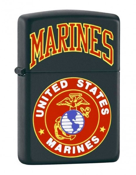Original Zippo Lighter Black Matte US Marines 218539