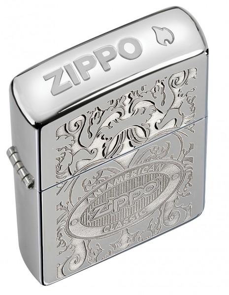 Original Zippo Lighter High Polish Chrome Crown Stamp 24751
