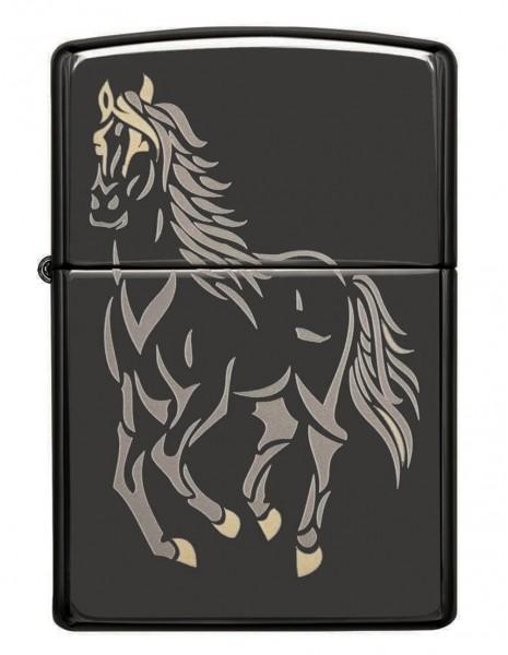 Original Zippo Lighter Black Ice Running Horse 28645