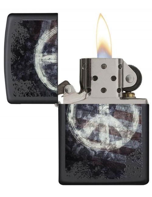 Original Zippo Lighter Black Matte Peace On Flag 28864
