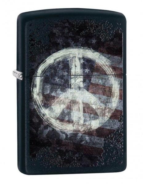 Original Zippo Upaljač Black Matte Peace On Flag 28864