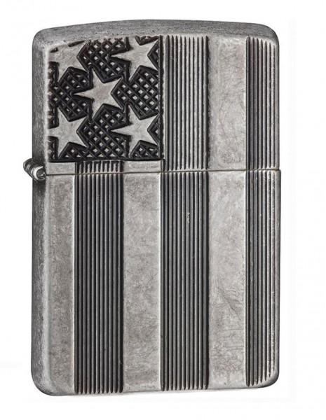 Original Zippo Lighter Antique Siver Plate Armor Flag 28974