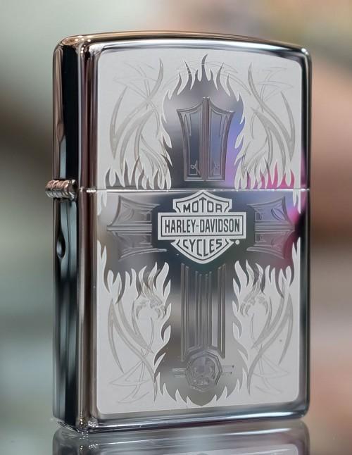 Original Zippo Upaljač High Polish Chrome Harley-Davidson® Cross 28982