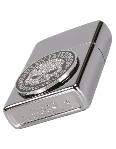 Original Zippo Lighter High Polish Chrome  Harley-Davidson® Bling Skull Emblem 28984