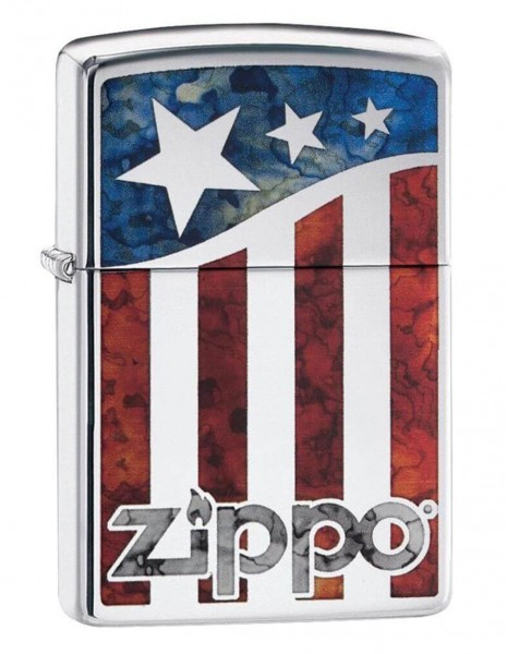 Original Zippo Lighter High Polish Chrome US Flag 29095
