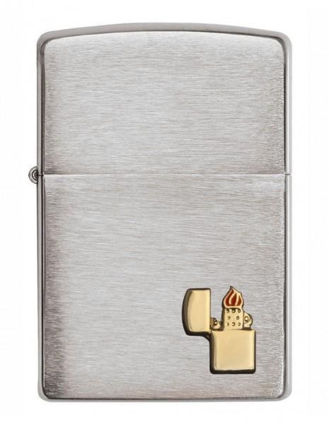 Original Zippo Lighter Brushed Chrome Zippo Lighter Emblem 29102