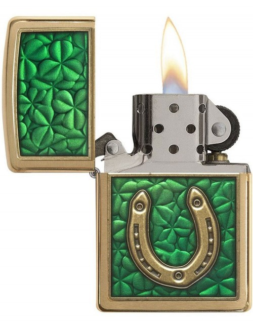 Original Zippo Upaljač Brushed Brass Armor Clovers And Horseshoe Emblem 29243