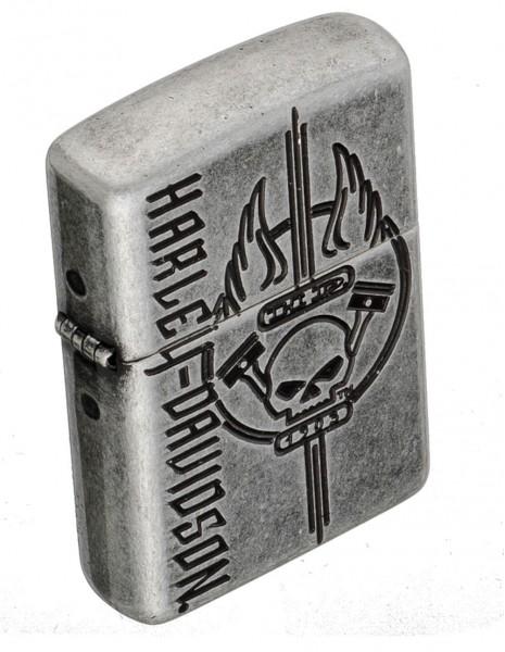 Original Zippo Lighter Antique Siver Plate Armor Harley-Davidson® 29280