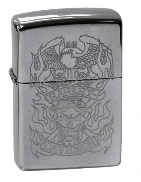 Original Zippo Lighter High Polish Chrome Harley-Davidson Skull & Eagle 29283