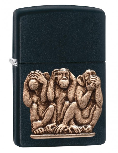 Original Zippo Lighter Black Matte Three Monkeys 29409