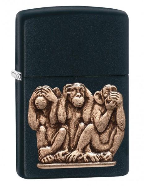 Original Zippo Upaljač Black Matte Three Monkeys 29409