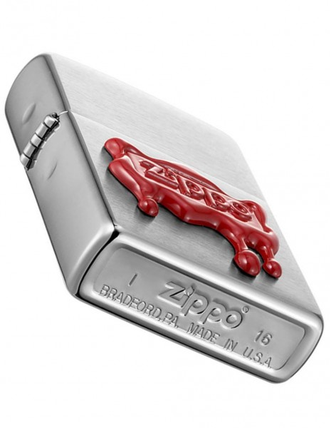 Original Zippo Lighter Brushed Chrome Red Wax Seal 29492