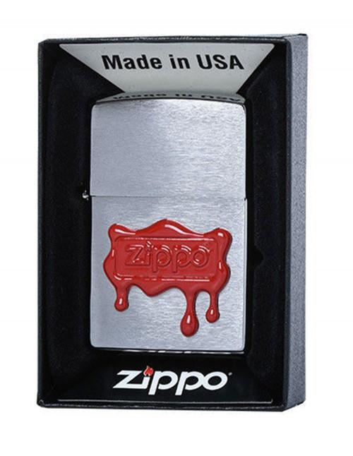 Original Zippo Upaljač Brushed Chrome Red Wax Seal 29492