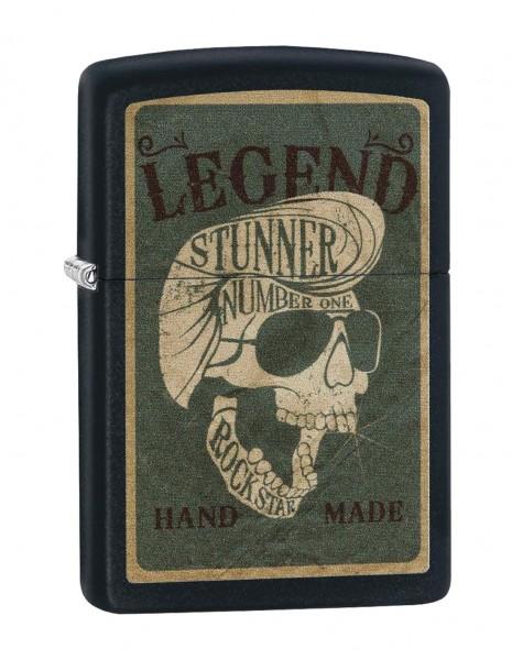 Original Zippo Lighter Legendary Skull Design Black Matte