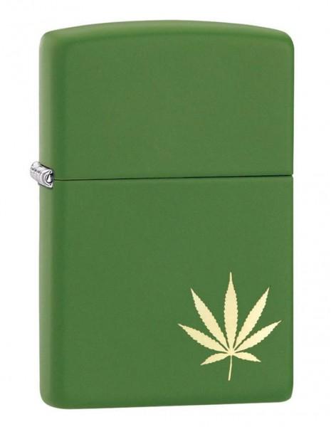 Original Zippo Upaljač Moss Green Matte Marijuana Leaf on the Side 29588