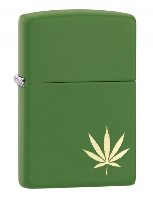 Original Zippo Lighter Moss Green Matte Marijuana Leaf on the Side 29588