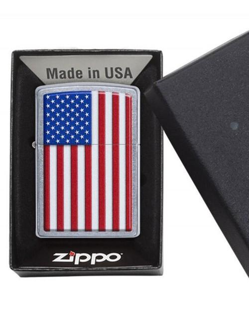 Original Zippo Upaljač Brushed Chrome Patriotic 29722