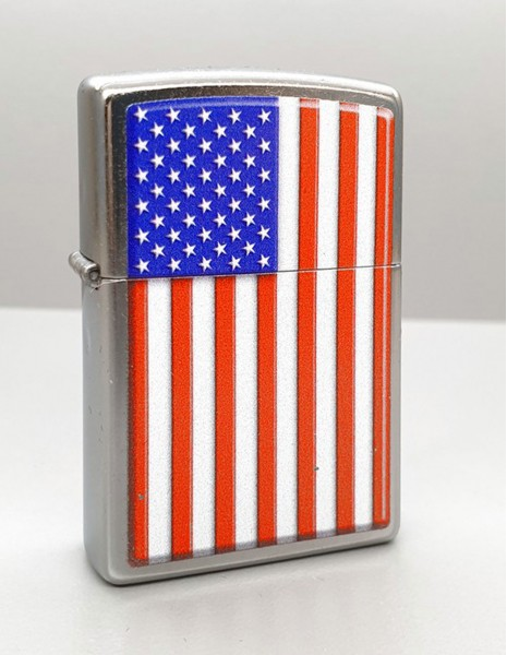 Original Zippo Lighter Brushed Chrome Patriotic 29722
