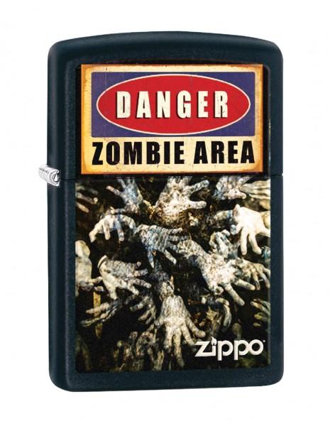 Original Zippo Lighter Danger Zombie Area Black Matte