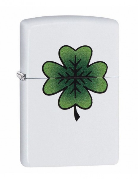 Original Zippo Lighter White Matte Clover Design 29723