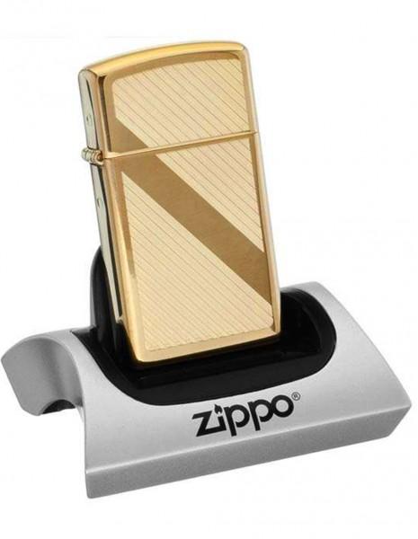 Original Zippo Upaljač Slim High Polish Brass Lines Design 29724