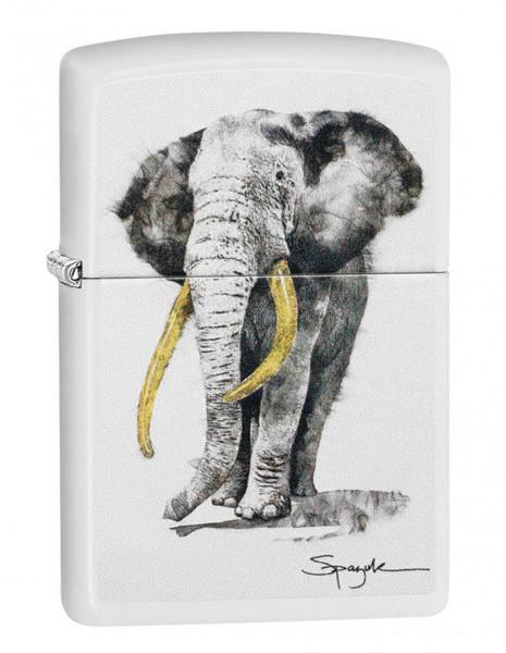 Original Zippo Lighter White Matte Steven Spazuk Elephant 29844