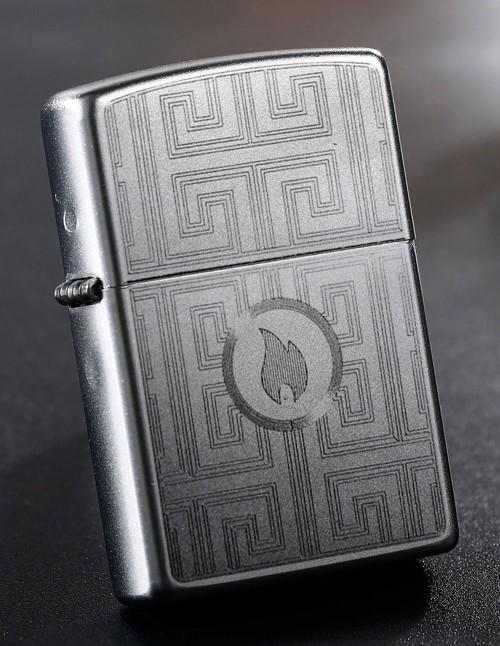 Original Zippo Lighter Satin Chrome Labyrinth Design 29857