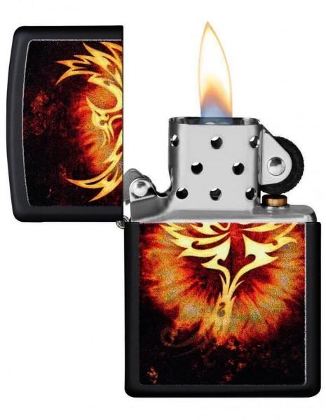 Original Zippo Upaljač Black Matte Phoenix Design 29866