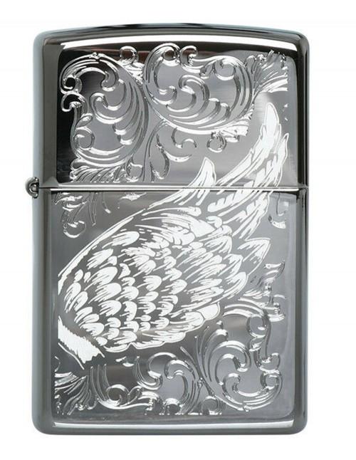 Original Zippo Lighter Black Ice Filigree Flame Wings 29881