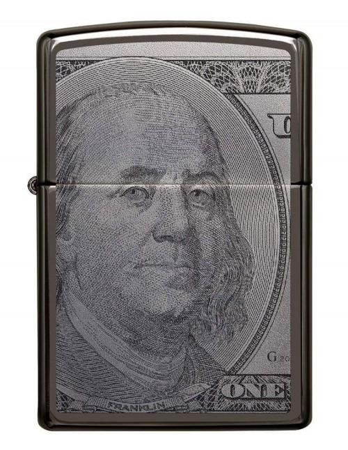 Original Zippo Lighter Black Ice Currency Design 49025