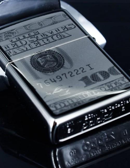 Original Zippo Upaljač Black Ice Currency Design 49025