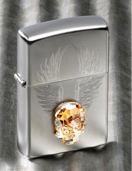 Original Zippo Lighter Satin Chrome Swarovski Gold Skull Design 49034