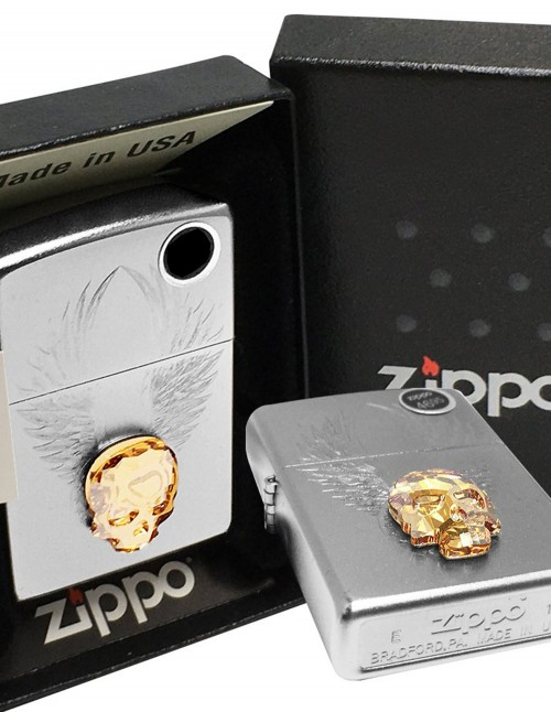 Original Zippo Upaljač Satin Chrome Swarovski Gold Skull Design 49034