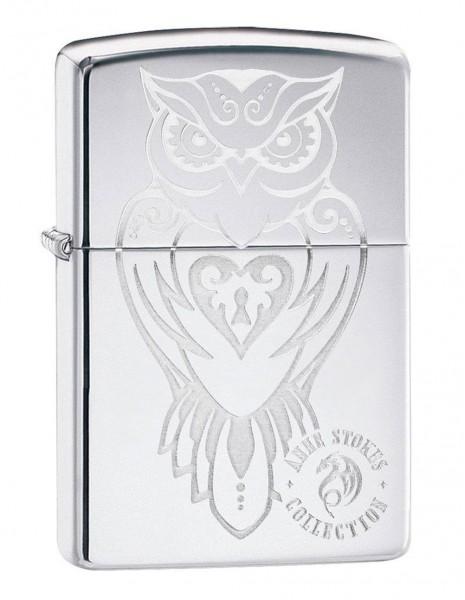 Original Zippo Lighter High Polish Chrome Anne Stokes Owl 49101
