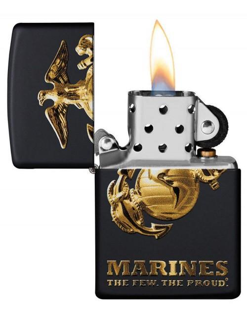 Original Zippo Lighter Black Matte Matte U.S. Marine Corps 49149
