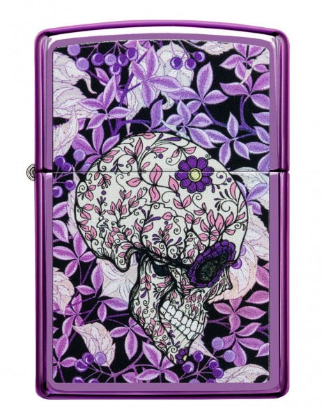 Original Zippo Lighter High Polish Purple Hidden Skull 49159