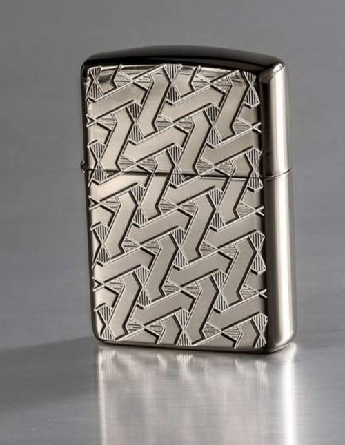 Original Zippo Lighter Armor Black Ice Geometric Weave 49173