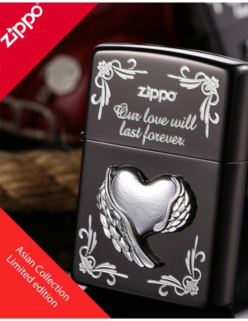 Original Zippo Lighter Armor Silver Wing Heart Asian Collection ZA-2-41D