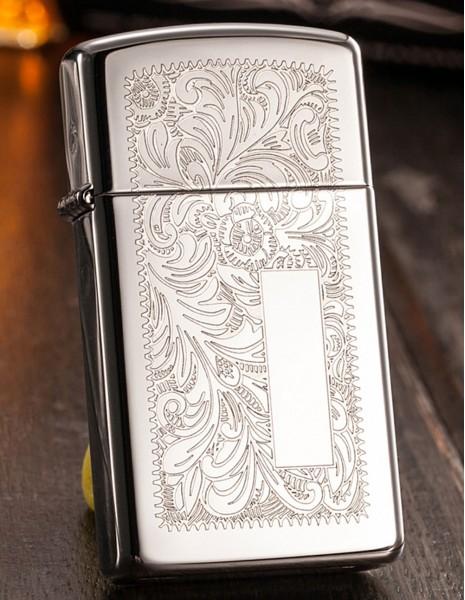 Original Zippo Lighter Slim High Polish Chrome Venetian 1652